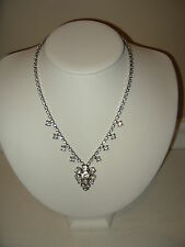 Vintage Signed CORO Silvertone & Clear Rhinestone Drop Necklace Choker