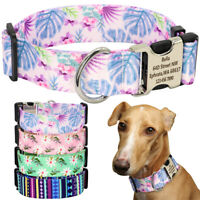 4cm Wide Personalised Flower Pet Dog Collar Custom Buckle for Medium Large Dogs