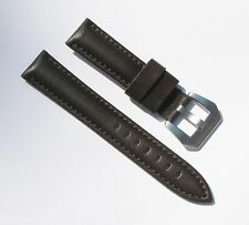 20mm Quality Genuine Leather Thick Padded Brown Watch Band - Size Large