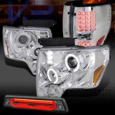 09-14 F150 Chrome LED Projector Headlights+LED Tail+Smoke LED 3rd Brake Light