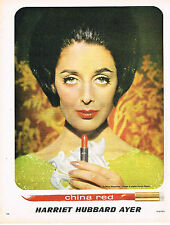 PUBLICITE ADVERTISING 104  1963  HARRIET HUBBARD AYER  cosmétiques CHINA RED