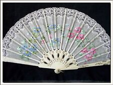 Lovely Art Nouveau 1930's Flowers Handpainted Original Spanish Fan ! See More !