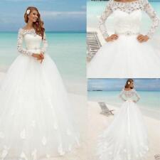 2017New Long sleeve  White / Ivory Wedding Dress  Custom Size 6-8-10-12-14-16 UK