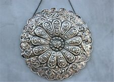 Round vintage Islamic Mirror Ottoman Turkish 900 Silver Frame Ornate Decorative