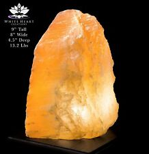 """9"""" Red Selenite Crystal Lamp With Black Walnut Base - RC-916-15 (Exact Lamp)"""