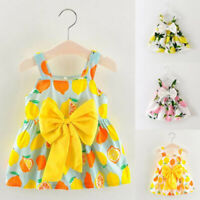 Infant Baby Girls Clothes Lemon Printed Outfit Sleeveless Princess Summer Dress