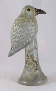 Unusual James C Seagreaves Mid-20th Century Glazed Cast Small Green Redware Bird