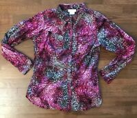 ARIAT Western Purple Leopard Pearl Snap Button Down Shirt Blouse Medium M Rodeo