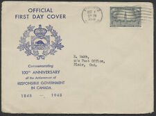 1948 #277 Responsible Government FDC, Canadian Philatelic Society Cachet
