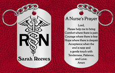 Personalized NURSE Steel Keychain with Nurse's Prayer, Engraved Gift RN LPN