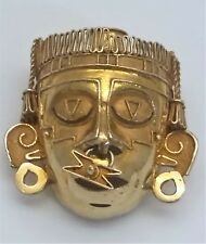925 SS Warrior Aztec Mask Xipe Totec Our Flayed Lord Goldsmith Brooch