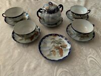 Hand painted Set of Tea Cups and saucers with sugar bowl with Lid made in Japan