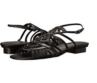 Vaneli Leather Sandals Women's Size 6 M Black Beamy Nappa Gladiator Strappy NEW