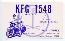 Eugene OR Ore man on motorcycle, CB radio postcard, QSL, Bill Lohrke