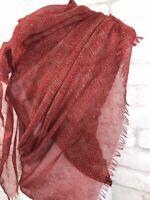 "Papillon Boho Red Print Lightweight Scarf Wrap Versatile Eyelash Fringe 70x42"""