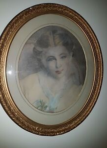 Edwardian Antique Pencil Drawing Young Girl Lovely Oval Gilt Frame unglazed