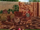 French Silk Antique needlepoint panel feeding the chickens 1800s