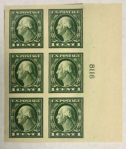 SCOTT #481 1c GREEN PLATE BLOCK, XF, MOGNH, PO FRESH, CAT $45 - APS MEMBER
