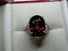 17.76 CARAT AGL CERTIFIED PINKISH RED ZIRCON AND DIAMOND 14K DESIGNER RING
