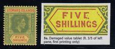 """Leeward Islands, SG 112b var, MLH """"Damaged Value Tablet (Repaired)"""" variety"""