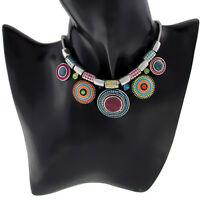Women Fashion Jewelry Crystal Choker Pendant Chunky Statement Chain Bib Necklace