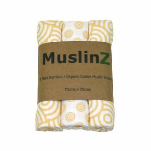 MuslinZ 3PK Luxury Baby Muslin Squares 70x70cm Bamboo/Organic Cotton Gold Swirl