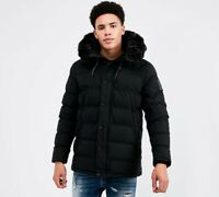KWD Kings Will Dream Mens New Winter Hooded Puffer Padded Jacket Frost Black