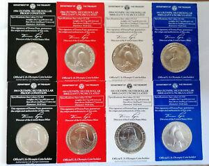 3BLot 8X 1 Dollar Silber USA Olympische Spiele 1983 / 1984 Los Angeles, A72B82