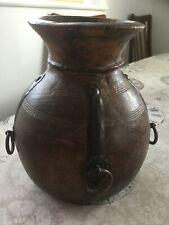 More details for extremely rare 19th century antique wooden and iron water jar/ vase good conditi