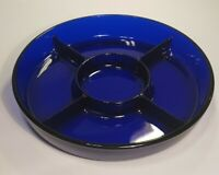 """Cobalt Blue Round Divided Relish Server Dish 9.5"""" Made in France EUC"""