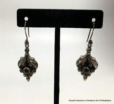 Vintage Sterling Garnet Ornate Drop Earrings