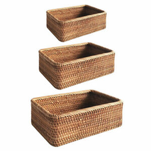 Storage Basket Handmade Weaving Rattan Wicker Fruit Miscellaneous Food Tray Box