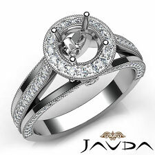 Pave Set Diamond Engagement Round Semi Mount Millgrain Ring 18k White Gold 0.9Ct