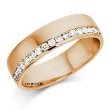 MENS 18K ROSE GOLD DIAMOND WEDDING BAND RING 6MM