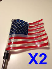 Set of 2 Solar Powered U.S. Flag Garden Yard Stake Pathway Lawn Light LED Sun i