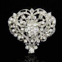 Women Heart Shape Shine Rhinestone Brooch Huge Size Wedding Party Brooch Pin