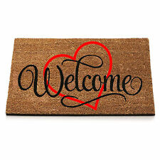 Anti Slip Entrance Floor PVC Doormat Natural Coir Front Door Mats Welcome Heart