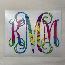 Tropical Flowers Vine Monogram Vinyl Decal Sticker for Yeti Tumbler iPhone