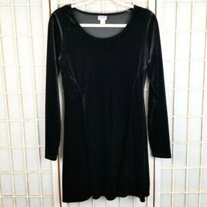 Mossimo Stretch Velvet Mini Dress Long Sleeve LBD Velour Size Medium Sheath Cute