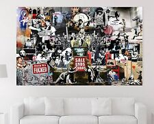XXL BILD Banksy Collage Street Art ABSTRAKT-CANVAS-IKEA 155x95x5 LEINWAND NEU