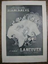 1938 PUBBLICITA LANIFICIO ROSSI LANCOVER BIANCANEVE 7 NANI ADOLFO BUSI 38X28