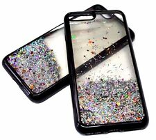 For iPhone 7+ PLUS - Black Trim Pink Glitter Stars Sparkle Liquid Waterfall Case