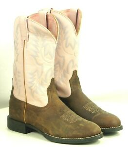 Ariat Pale Pink Brown Leather Cowboy Western Cowgirl Boots 10001603 Women's 7.5