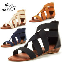 Nis Women's Summer Elastic Strap Gladiator Ankle Shoes Back Zip Sandals Casual