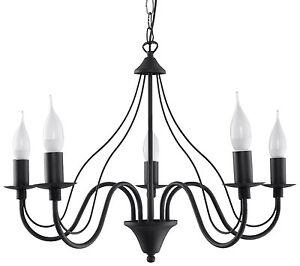 Minerwa 5x E-14 Kerzen, klassisch Kronleuchter Hängeleuchte Hängelampe schwarz