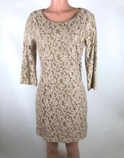 Skies Are Blue Womens Dress Beige Lace Overlay Metallic Shimmer Dress Size L NEW