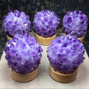 1PC Natural Amethyst light lamp Geode Quartz Cluster Crystal Specimen Healing