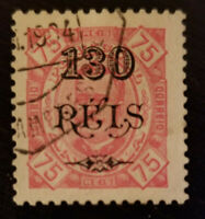 Angola 1902 SC# 78 Ovpt. Surcharge 130 on 75 REIS Used LH Perf. 11½ King Carlos