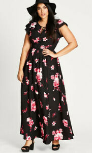 NWT City Chic Maxi Floral Lover Dress Size M Size 18-20