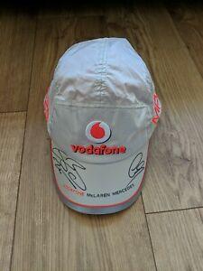 Lewis hamilton + Jenson Button Signed Cap Vodafone McLaren Mercedes